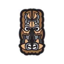 Maori Or Samoan Style Mask. Polynesian Style Tiki. Good For Prints. Isolated. Vector Illustration