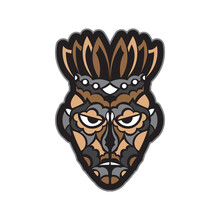 Maori Or Samoan Style Mask. Polynesian Style Tiki. Good For T-shirts, Phone Cases, And Tattoos. Isolated. Vector Illustration