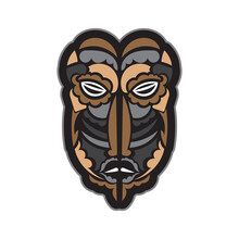 Maori Or Samoan Style Mask. Polynesian Style Tiki. Good For T-shirts, Phone Cases, And Tattoos. Isolated. Vector