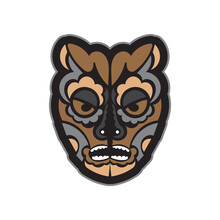 Colored Mask In Maori Or Samoan Style. Polynesian Style Tiki. Good For T-shirts, Phone Cases, And Tattoos. Isolated. Vector