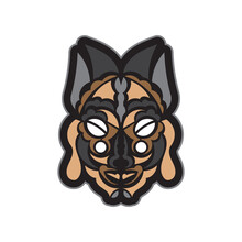 Color Tattoo Mask In Maori Or Samoan Style. Polynesian Style Tiki. Good For Prints. Isolated. Vector Illustration