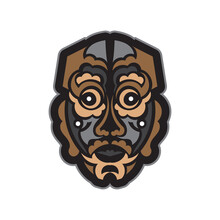 Color Tattoo Mask In Maori Or Samoan Style. Polynesian Style Tiki. Good For Prints. Isolated. Vector