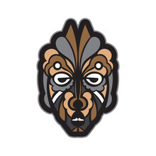 Color Tattoo Mask In Maori Or Samoan Style. Tiki Face In Polynesian Style. Isolated. Vector Illustration