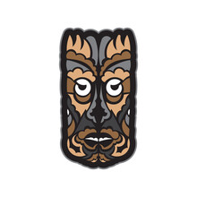 Color Tattoo Mask In Maori Or Samoan Style. Tiki Face In Polynesian Style. Isolated. Vector