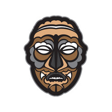 Colored Totem In Maori Or Samoan Style. Tiki Mask In Polynesian Style. Good For T-shirts, Phone Cases, And Tattoos. Isolated. Vector Illustration