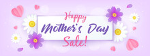 Happy Mother's Day Sale Banner Vector Illustration.Daisy Flowers With Paper Heart On Purple Background