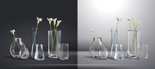 Realistic Vector. Bouquet Of Flowers In A Glass Of Water. Empty Glass Vase Realistic Mockup - Isolated 3D Crystal Cup For Flowers Or Cold Beverage With Rounded Shape