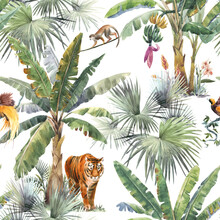 Beautiful Seamless Pattern With Watercolor Tropical Palms And Jungle Animals Tiger, Giraffe, Leopard. Stock Illustration.