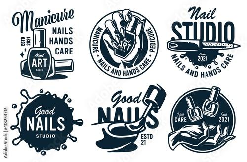Fotografiet Set of manicure prints for nail bar and beauty salon