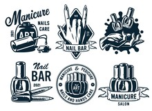 Set Of Manicure Prints For Nail Bar And Beauty Salon. Emblem For Fingernail Studio Or Logo Of Nails And Hands Care Service