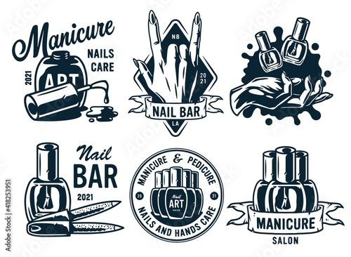 Canvastavla Set of manicure prints for nail bar and beauty salon