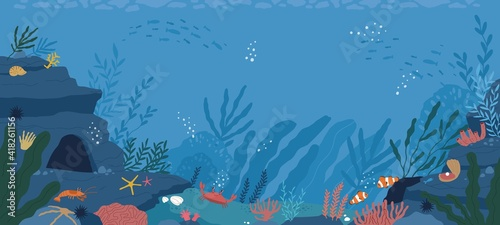 Fotografia Underwater life at sea or ocean bottom
