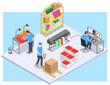 Printing House Isometric Composition