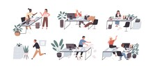 Set Of People Working And Relaxing In Chaos And Mess. Office Workers Conflicting, Sleeping And Hurrying. Men And Women At Workplaces. Colored Flat Vector Illustration Isolated On White Background
