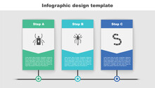Set Beetle Bug, Spider And Worm. Business Infographic Template. Vector.