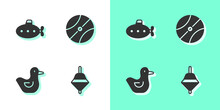 Set Whirligig Toy, Submarine, Rubber Duck And Basketball Ball Icon. Vector.