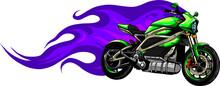 Fiery Green Motorcycle Racing Vector Illustration Design
