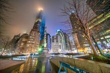 Columbus Circle At Night In Manhattan - New York City - USA
