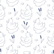 Seamless Vector Pattern With Cute Hand Drawn Pond With Floating Duck And Aquatic Plants. Line Objects. Fun Background For Kids Room Decor, Nursery Art, Print, Fabric, Gift, Textile, Wallpaper, Package