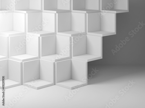 Cubes installation in a blank white room, 3d © evannovostro