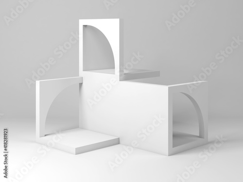 Cube blocks construction with arches, 3d rendering © evannovostro