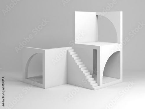 Abstract white architectural installation. Cube blocks