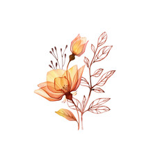 Watercolor Rose Bouquet. Transparent Orange Flowers With Branch And Leaves Isolated On White. Hand Painted Vintage Arrangement. Botanical Illustration For Cards, Wedding Design