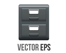Vector Office Grey Metal File Cabinet Icon With Two Drawers, Handles And Label Holders