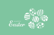 Color Easter Eggs Wit Happy Easter Text. Great For Card Banner Package