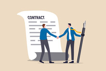 Signing Contract, Business Deal Or Partnership, Banking Loan, Investment Contract Or Job Offer Agreement Concept, Success Businessman Handshake With Client Holding Pen Ready To Sign Agreement Contract