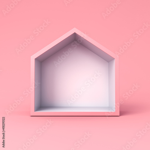 Blank simple display house box stand isolated on pink pastel color background minimal conceptual 3D rendering © masterzphotofo