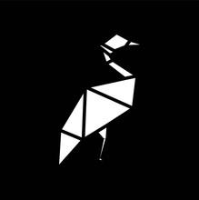 Simple Egret Silhouette Logo Design
