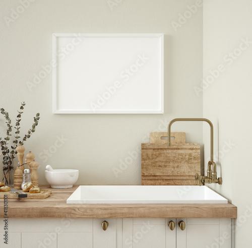 Fototapeta Frame mockup in kitchen interior background, Farmhouse style, 3d render obraz