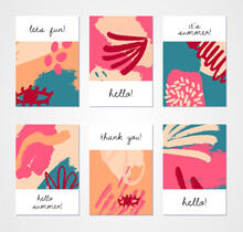 Set Of Abstract Backgrounds. Hand Drawn Design For Flyer Print And Web. Pastel And Bright Colors. Vector Illustration.