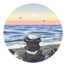 Nature Relax Landscape, Stones On Beach. Outdoor Travel Chill Background Or Summer Coast With Waves And Seagull