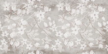Flowers On The Wall Background, Digital Wall Tiles Or Wallpaper Design. Cement Texture On The Flower Background