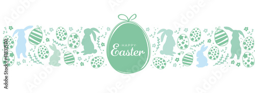 Fotografia Easter banner with easter eggs and rabbit