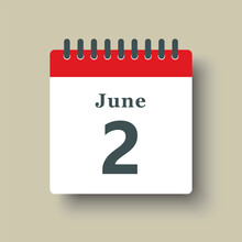 Icon Day Date 2 June, Template Calendar Page