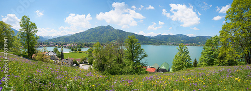 Canvastavla springtime panorama, beautiful flower meadow and view to lake Tegernsee, Leeberg
