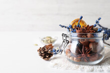 Aromatic Potpourri In Glass Jar On White Background. Space For Text