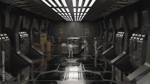 Cuadros en Lienzo Future Soldiers in a Space Station Cargo Bay, 3d digitally rendered science fict