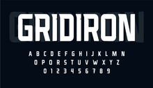 Sport Condensed Alphabet. Tall Monumental Font For Modern American Football Logo. Typeset For Rugby Gridiron Branding, Sport Headline, Monogram. Minimal Style Letters, Vector Typographic Design