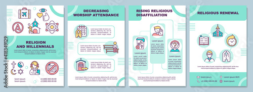 Religion and millennials brochure template Fotobehang