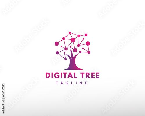 Fototapeta digital tree logo tech tree logo creative tree logo obraz