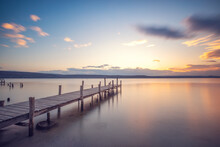 Old Wooden Dock At The Lake, Sunset Shot