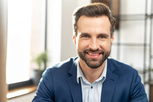 Stylish Trendy Modern Expensive Clothing Lifestyle Person Concept. Close Up Photo Portrait Of Attractive Nice Sharp-dress With Neat Stubble Man Looking At Camera Isolated, In The Office Background