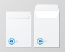 Set Of White Mail Folders With A Blue Postal Stamp Lying On The Grey Surface. Folded And Unfolded Postage Envelope Vector Mockup.