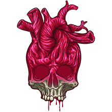 Skull With Heart, Grunge Vintage Design T-shirts