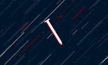 Large White Metal Nail Symbol Framed In Red In The Center. The Effect Of Flying Through The Stars. Seamless Vector Illustration On A Dark Blue Background With Stars And Slanted Lines