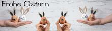 Frohe Ostern Hintergrund Banner Panorama Grußkarte - Junge Frauen Halten Süße Lustige Ostereier Mit Hasenohren / Osterhasen In Ihren Händen, Isoliert Auf Weißem Vintage Shabby Wand Textur